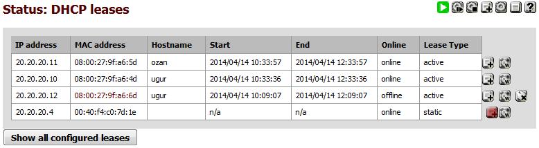 Resim 1: Statik DHCP Adresleri Oluşturma