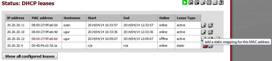 Resim 2: Statik DHCP Adresleri Oluşturma