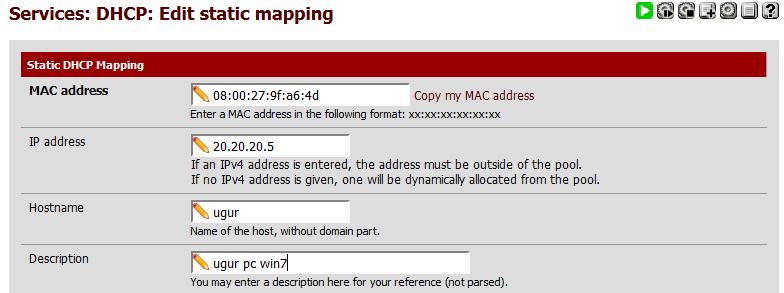 Resim 3: Statik DHCP Adresleri Oluşturma